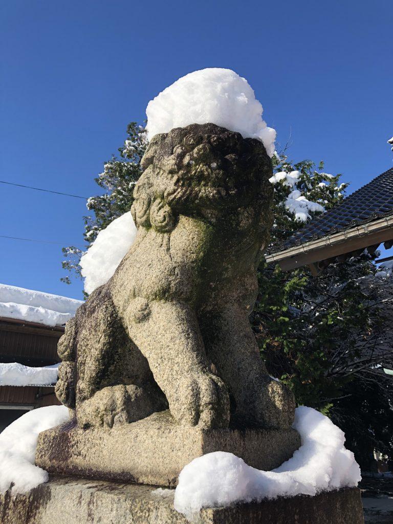 越中護国八幡宮 - 狛犬 - 雪景色01